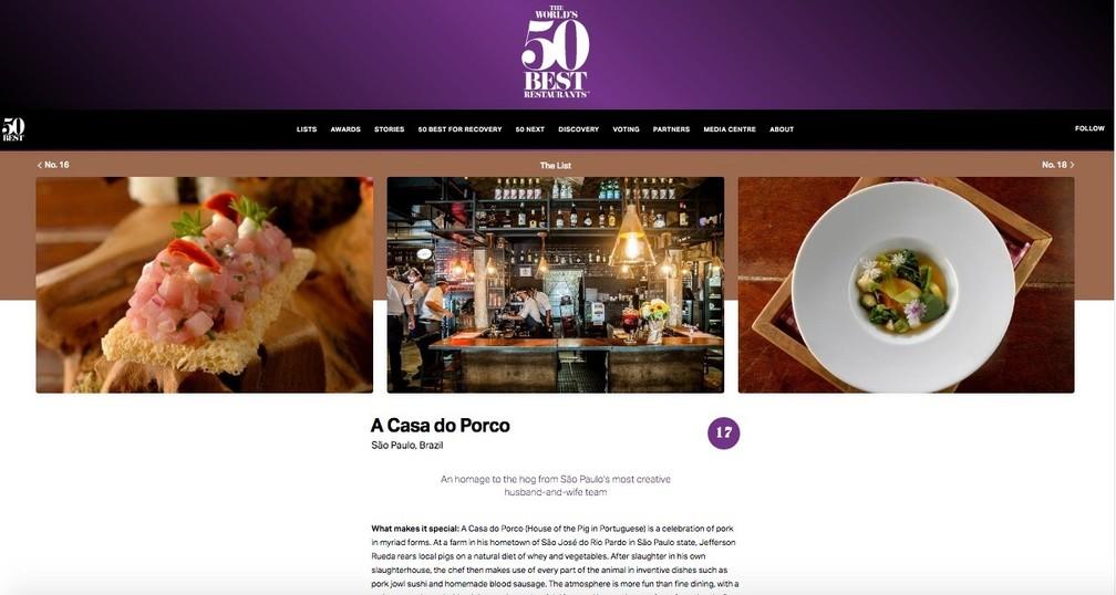 Restaurante A Casa do Porco, no Centro de SP, aparece como um dos 50 melhores restaurantes do mundo, de acordo com lista feita por uma revista britância — Foto: Reprodução