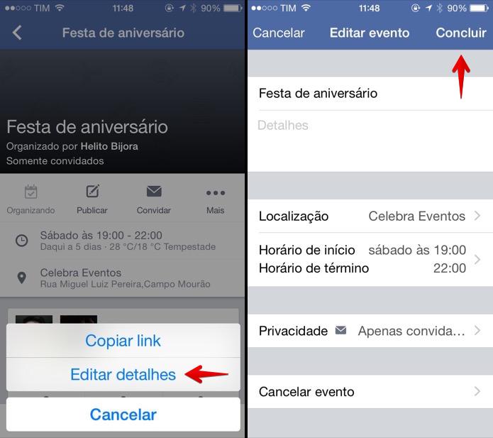 Editando evento do Facebook pelo celular (Foto: Reprodução/Helito Bijora)