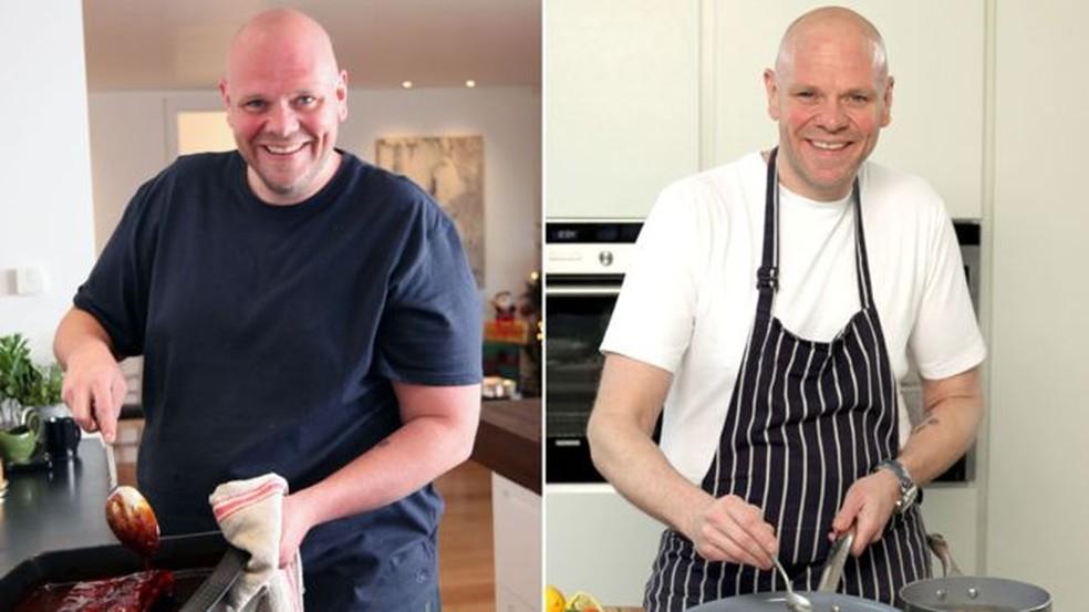 Tom Kerridge perdeu 76 quilos depois de mudar sua alimentação — Foto: BBC