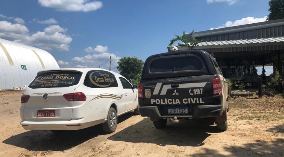 Fazenda onde cinco pessoas foram mortas em Vilhena, RO — Foto: Maelly Nunes/Rede Amazônica