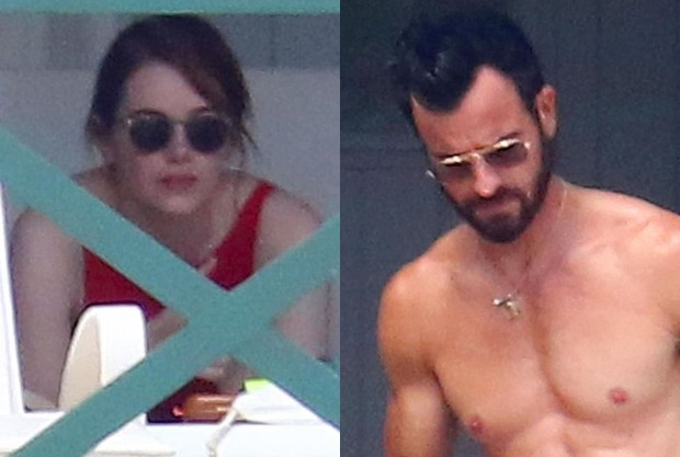 Emma Stone e Justin Theroux (Foto: BackGrid)
