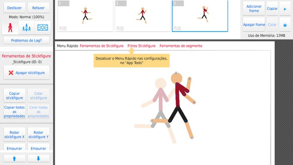 O boneco Stickman é ideal para usuários iniciantes em animação — Foto: Reprodução/Adriano