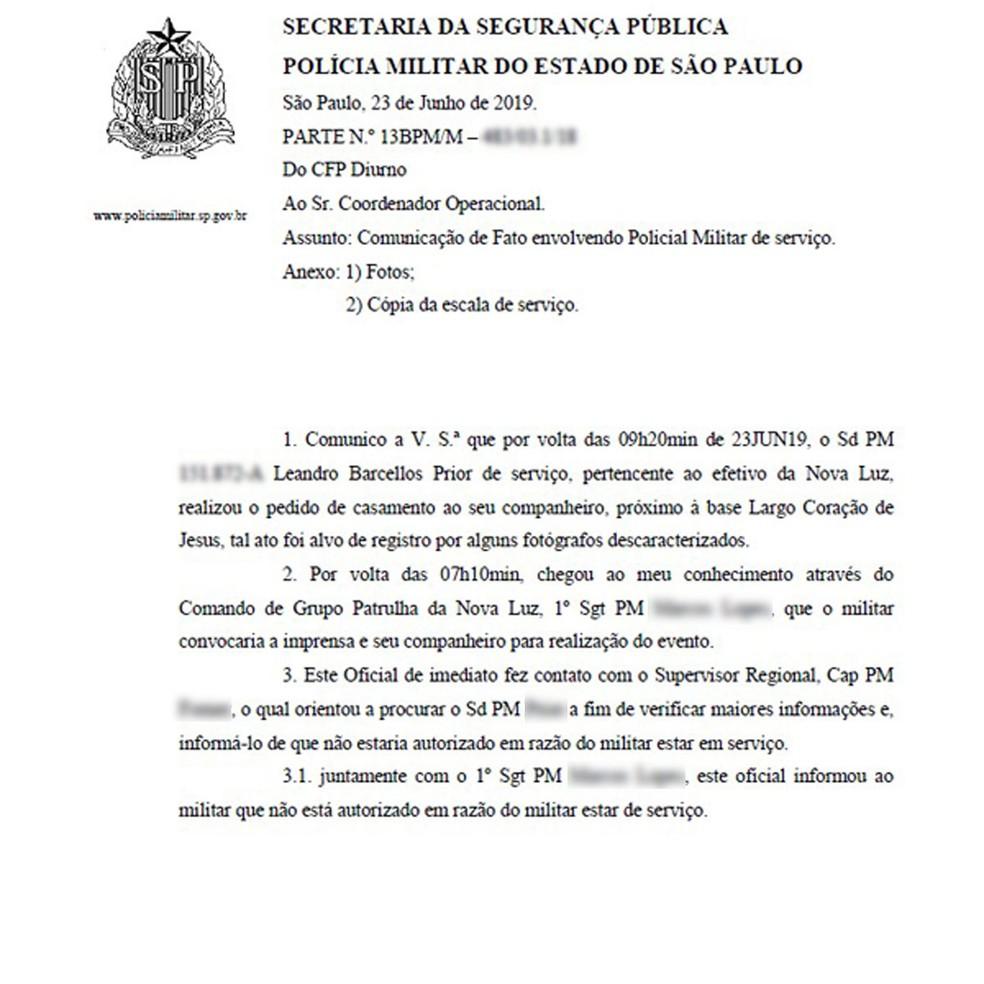 """Documento atribuído à PM circula nas redes sociais informando que soldado Leandro Prior estava proibido de fazer pedido de casamento ao namorado por estar de """"serviço"""" — Foto: Reprodução/Redes sociais"""