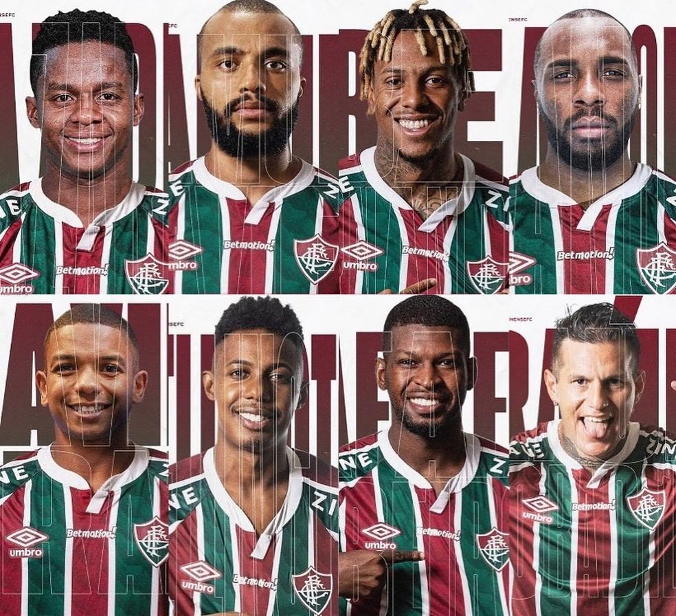 Fluminense anunciou oito reforços em 2021 até o momento — Foto: Divulgação