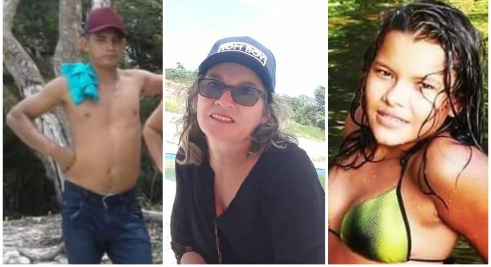 Érlison Vieira, professora Ana Maria Pinto e a jovem Josélia Evangelista morreram após serem atingidos por raio em Oriximiná — Foto: Redes Sociais/Reprodução