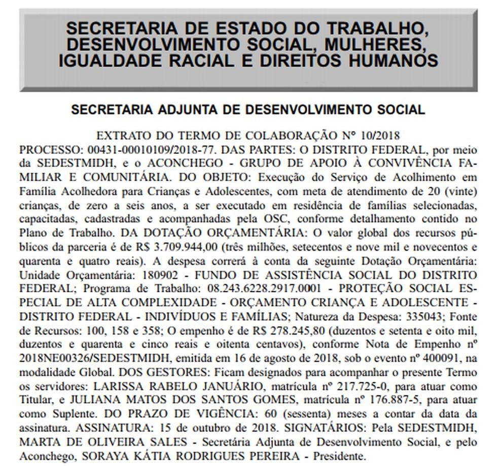 Recorte feito do Diário Oficial do Distrito Federal sobre o termo de colaboração entre o Grupo Aconchego e o GDF — Foto: Diário Oficial do DF/Divulgação