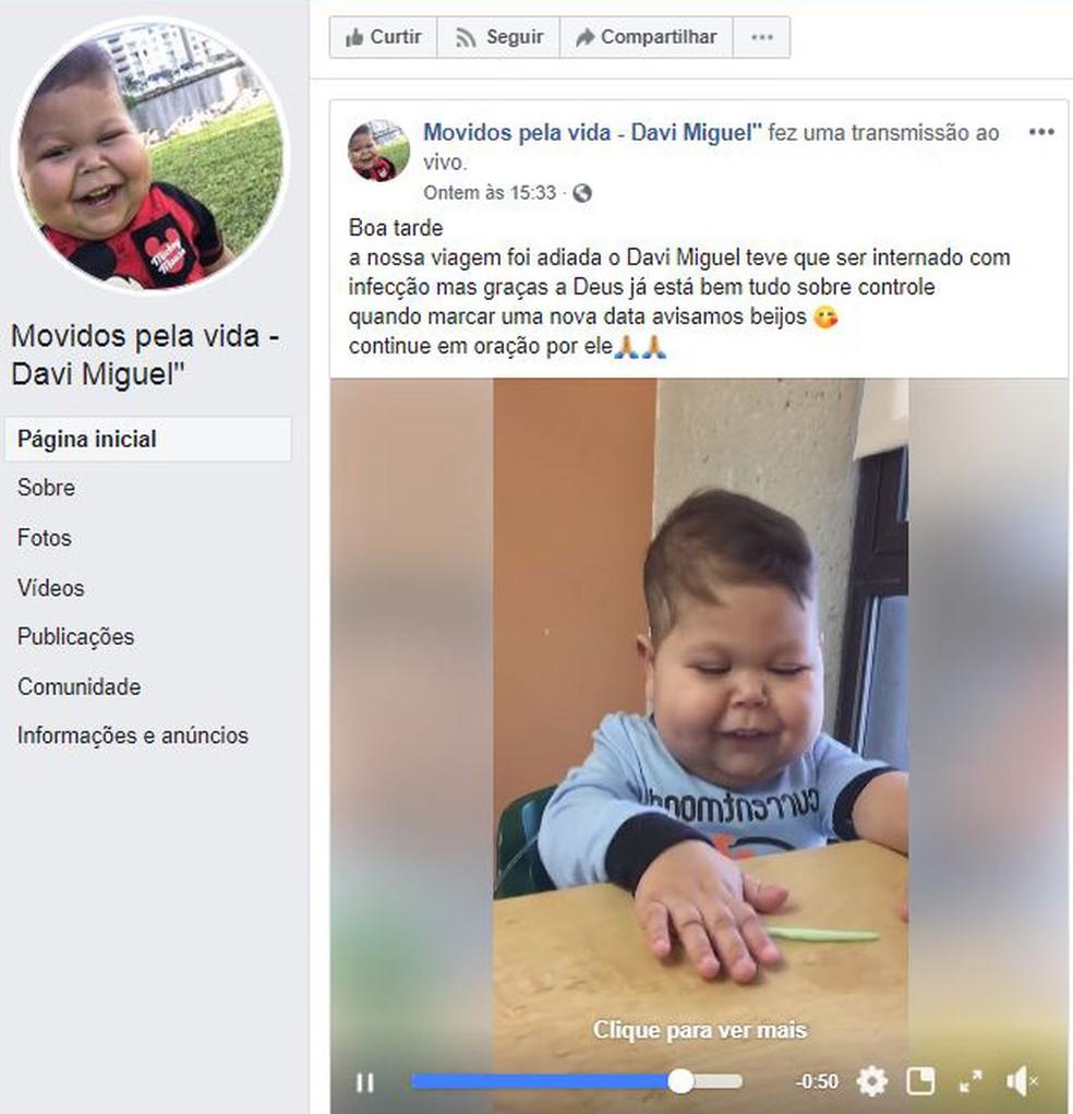 Vìdeo mostra o menino Davi Miguel em hospital de Miami. Viagem de volta ao Brasil foi adiada por causa de infecção — Foto: Reprodução/Facebook