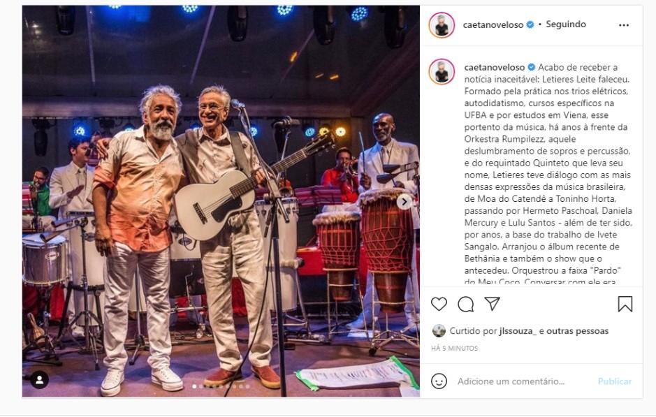 Caetano Veloso lamenta morte do maestro Letieres Leite: 'a vida perdeu um dos seus mais dignos representantes'