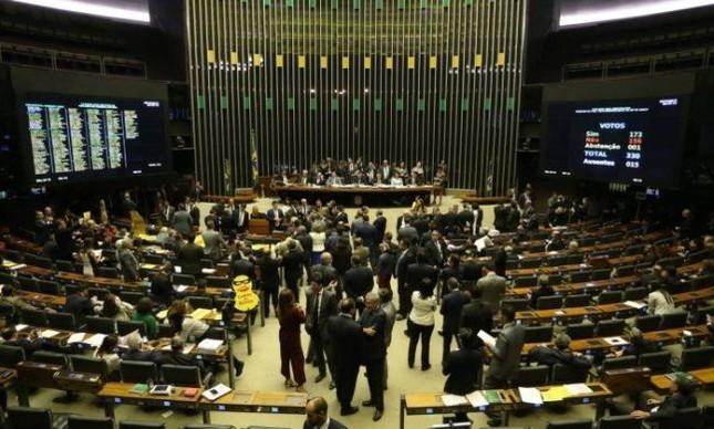 Plenário da Câmara dos Deputados durante a votação da segunda denúncia contra Temer (Foto: Ailton de Freitas / Agência O Globo)