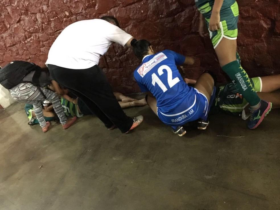 Lances ocorreram no duelo contra Santa Etelvina, pelo Amazonse sub-17 de futsal feminino (Foto: Divulgação/Iranduba)
