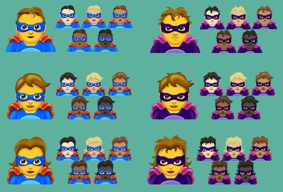 Pessoas vestidas de heróis também entraram na lista da Emojipedia de 2018 (Foto: Reprodução/Emojipedia)