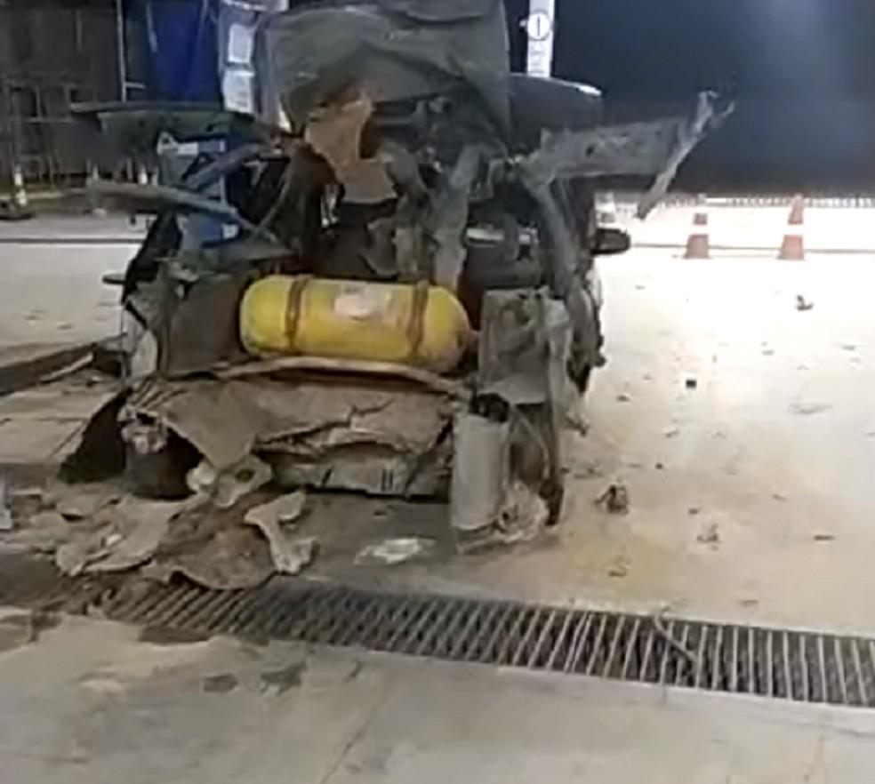 Carro explodiu durante abastecimento no RN — Foto: Redes sociais/Reprodução