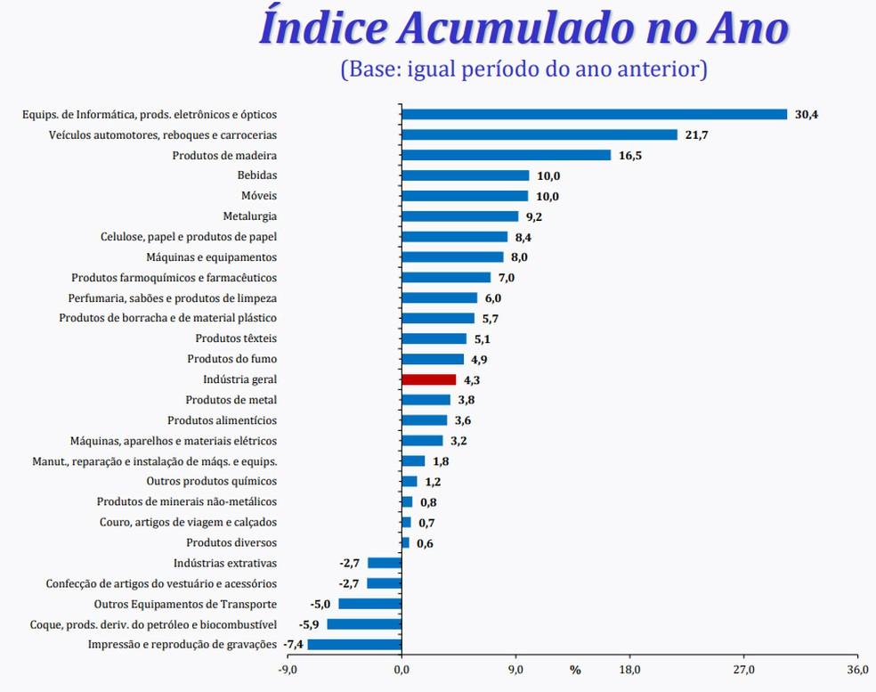 Desempenho das primcipais atividades no acumulado no 1º bimestre (Foto: Divulgação/IBGE)