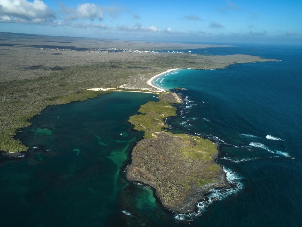 Vista aérea em Tortuga Bay, na Ilha de Santa Cruz, no Equador (Foto: Pablo Cozzaglio/AFP )