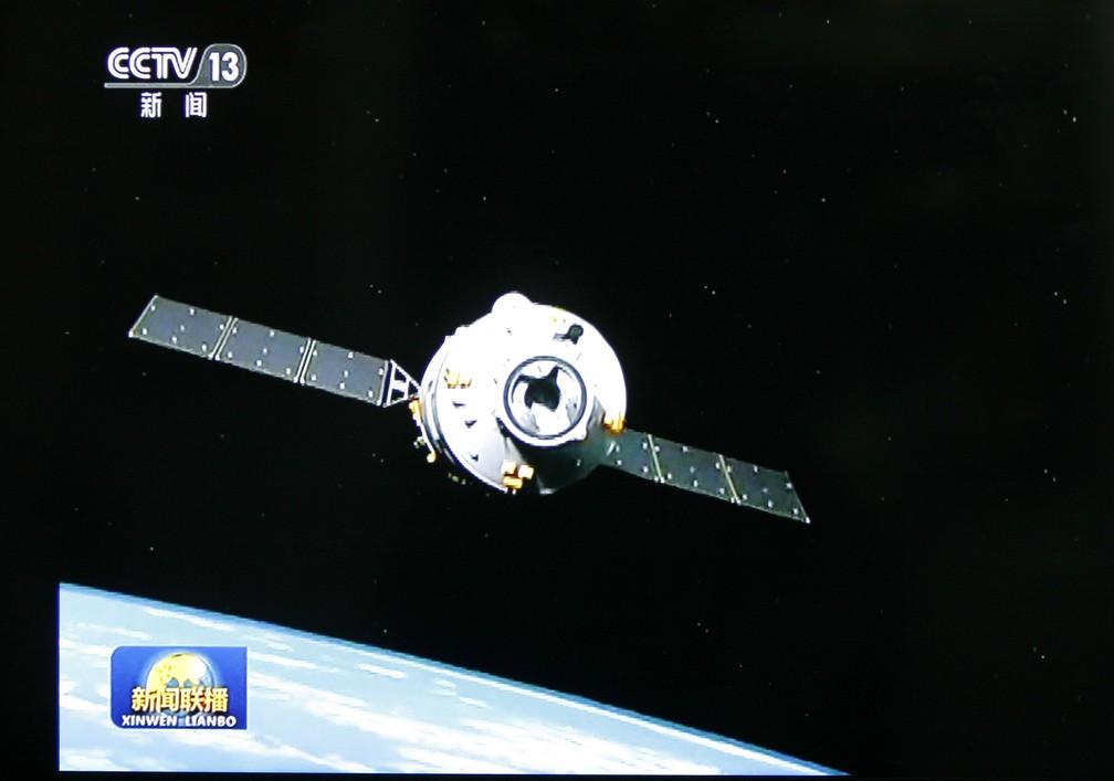 Imagem da emissora china CCTV mostra a estação espacial Tianzhou-1 (Foto: An Xin/Imaginechina/AFP/Arquivo)