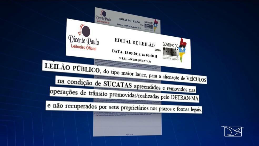 Edital prevê a realização de um leilão de veículos apreendidos durante fiscalizações do Detran-MA (Foto: Reprodução/TV Mirante)