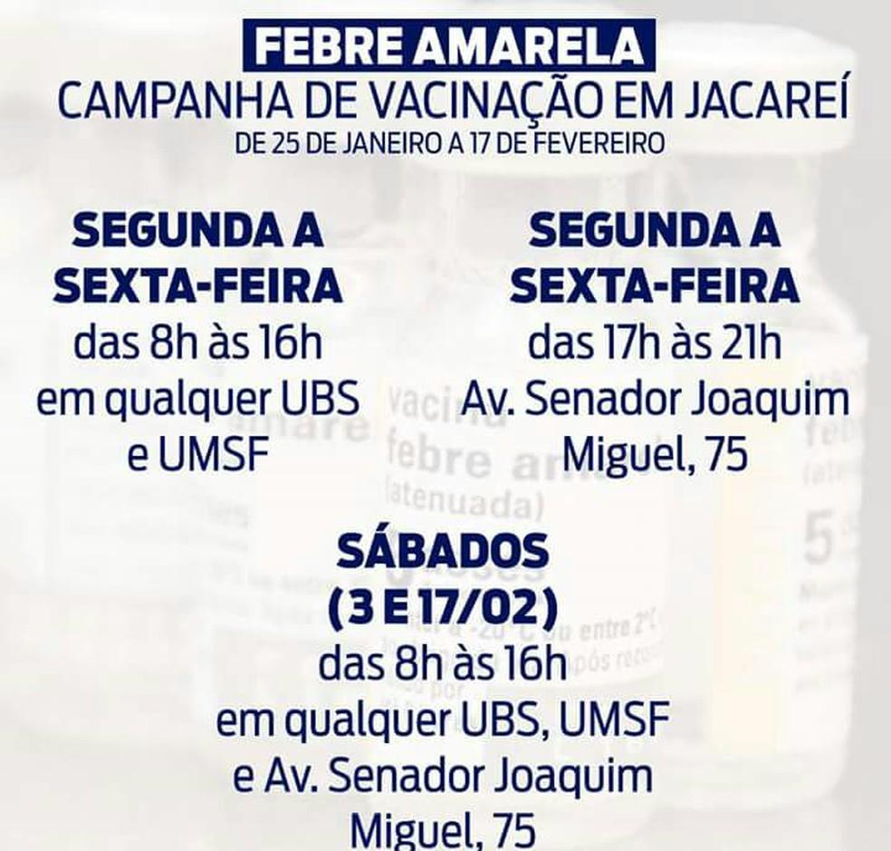 Campanha de vacinação contra febre amarela em Jacareí (Foto: Prefeitura de Jacareí/ Divulgação)