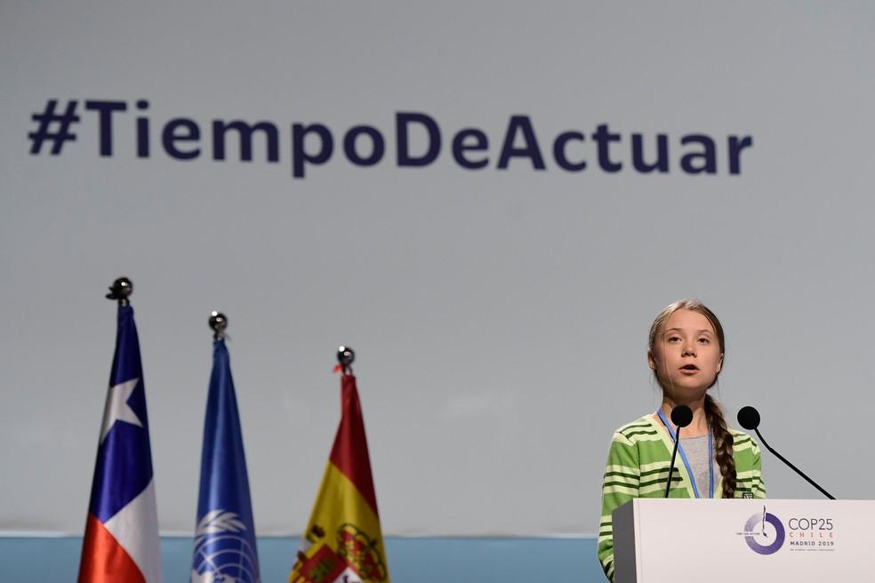 A ativista Greta Thunberg discursa na conferência da ONU sobre o clima, a COP 25, em 11 de dezembro de 2019 — Foto: Cristina Quicler/AFP