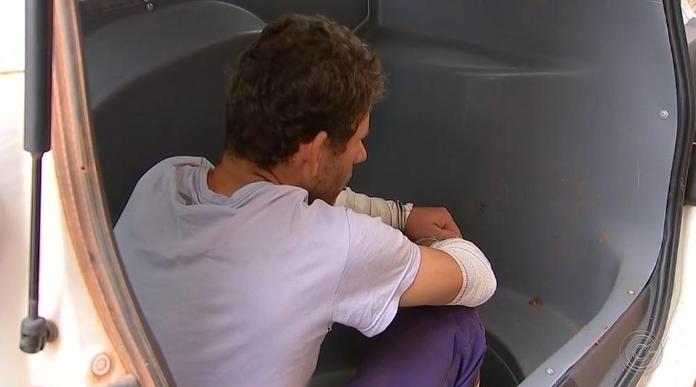 Homem foi preso suspeito de tentativa de latrocínio em Tatuí (Foto: Reprodução/TV TEM)