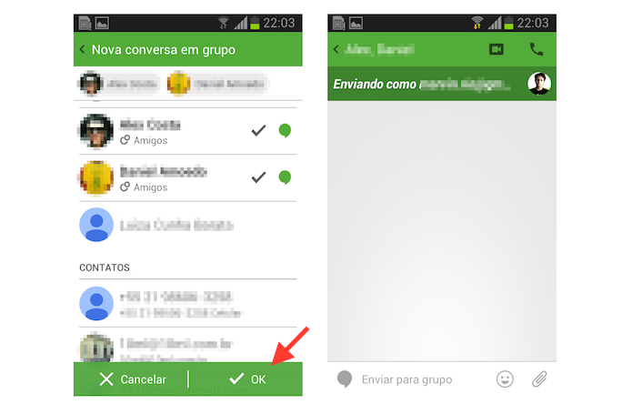 Iniciando uma nova conversa em grupo a partir de um chat no Hangouts para Android (Foto: Reprodução/Marvin Costa)