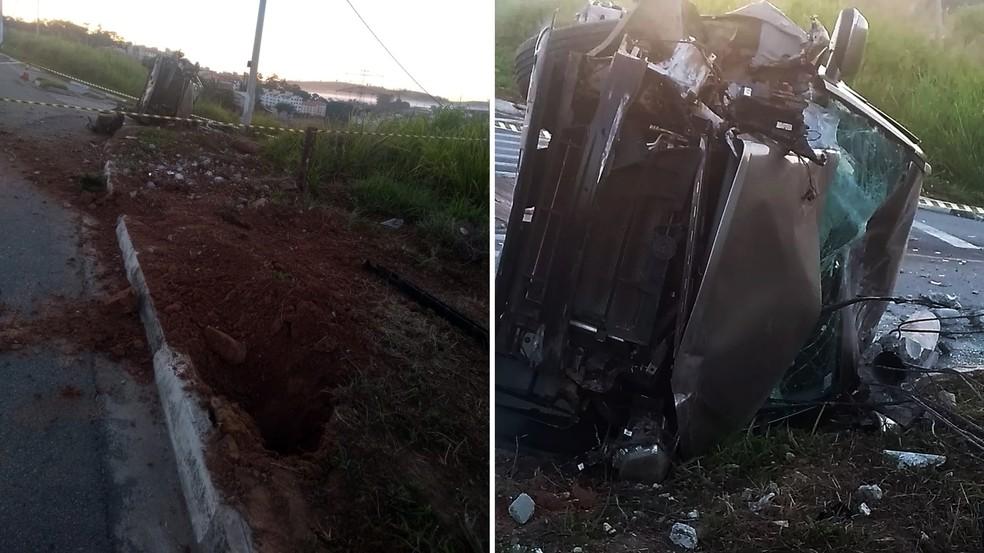 Carro atingiu post e capotou em Itatiba — Foto: Arquivo pessoal