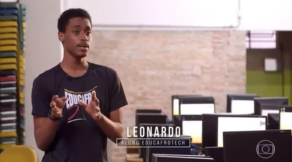 Leonardo é estudante do Educafrotech — Foto: TV Globo