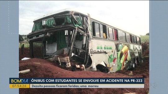 Acidente entre ônibus de estudantes e caminhão, em Umuarama, deixa 10 feridos e uma pessoa morta