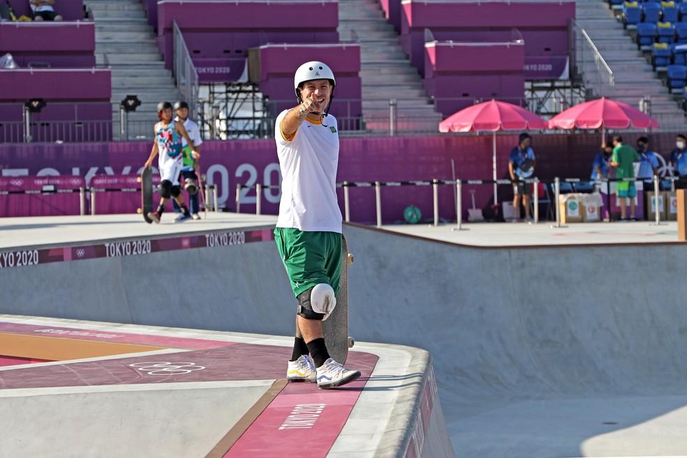 Pedro Barros durante sessão de treino nas Olimpíadas de Tóquio — Foto: CBSk / Julio Detefon