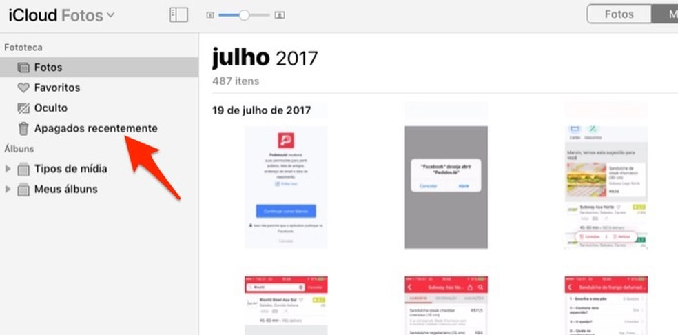 Ação para acessar a pasta de fotos deletadas no iCloud — Foto: Reprodução/Marvin Costa