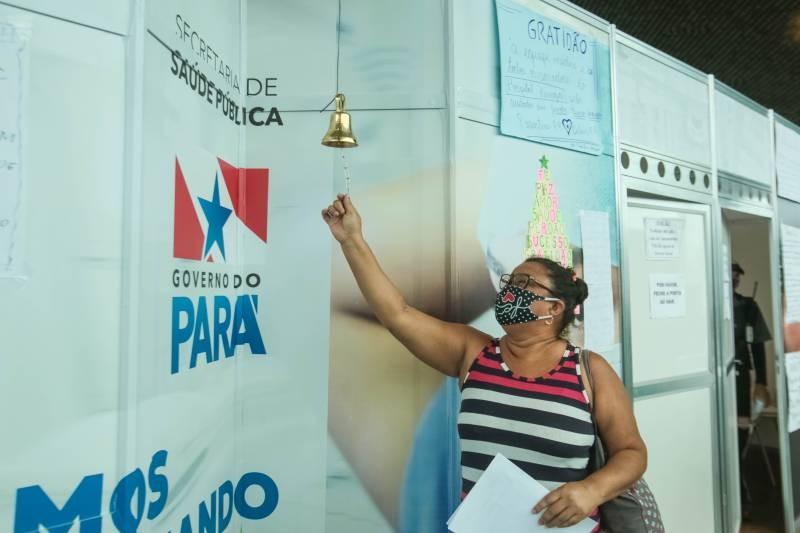 Projeto 'Sino da Vitória' celebra a vidas dos pacientes que recebem alta no Hospital de Campanha em Belém