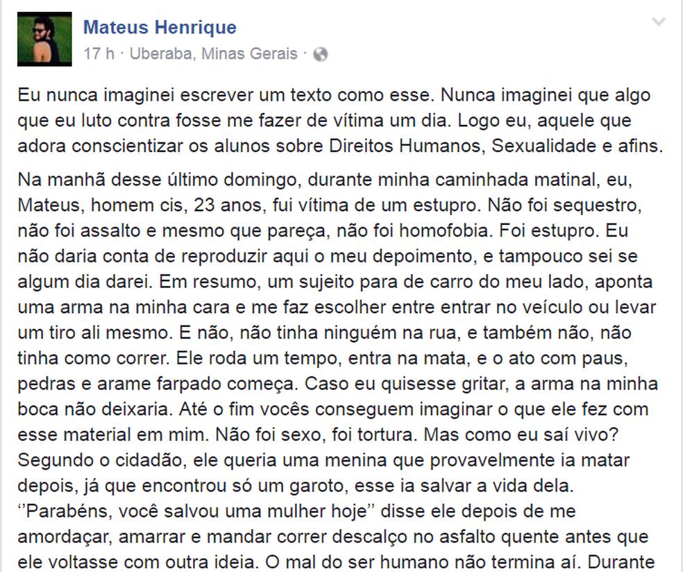 Matheus publicou neste domingo (20), em página de rede social, um desabafo contando os momentos de horror que viveu horas antes em Uberaba (Foto: Reprodução/Facebook/Mateus Henrique)