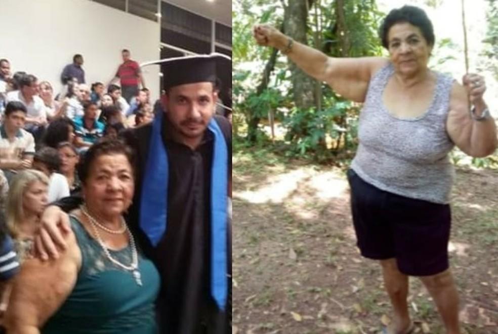 Mãe de Adriano, Maria Mendes Barbosa, morreu de Covid aos 78 anos  — Foto: Arquivo pessoal