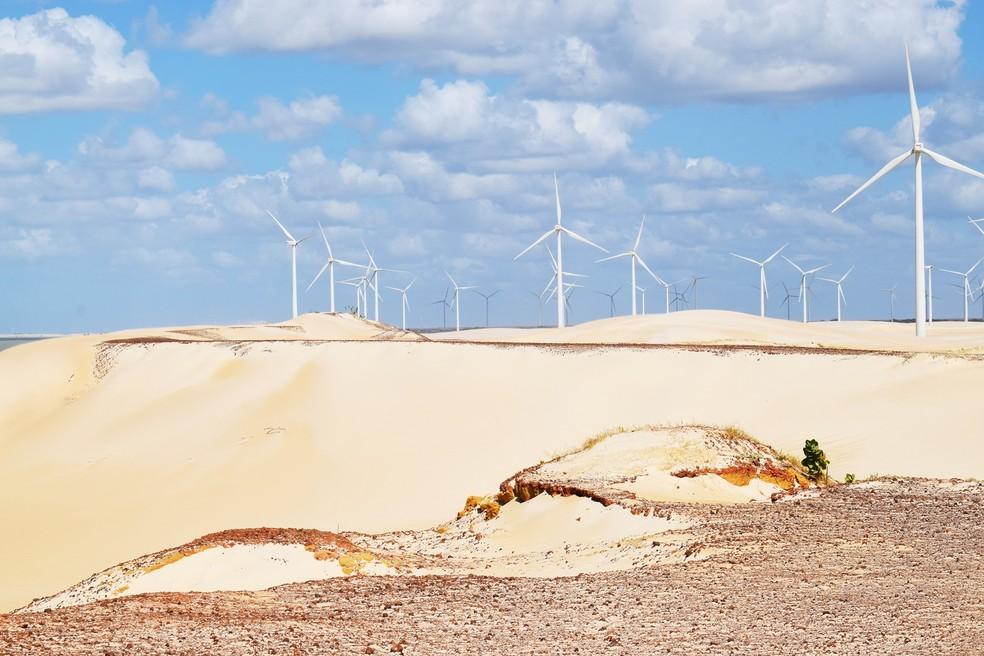Parque eólico em Galinhos, Rio Grande do Norte (Foto: Maxwell Almeida)