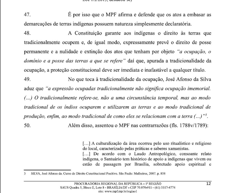Trecho do parecer da Procuradoria Regional da República da 1ª Região (Foto: Reprodução)
