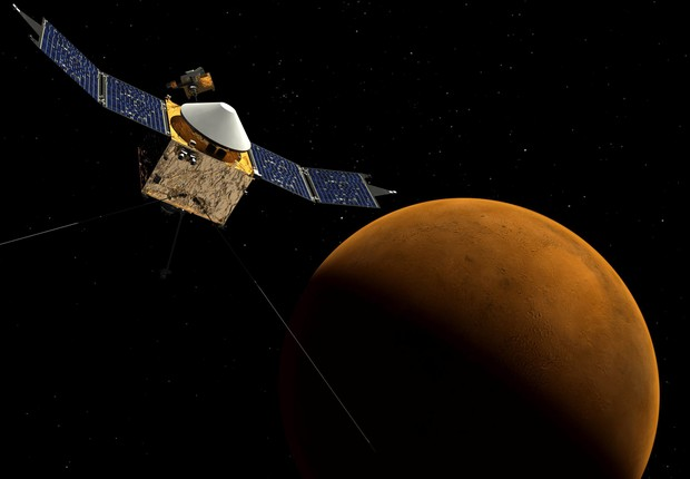 Foto de arquivo da Nasa de 22 de setembro de 2014 mostra maquete virtual da nave espacial Maven na órbita ao redor de Marte (Foto: NASA/EFE)