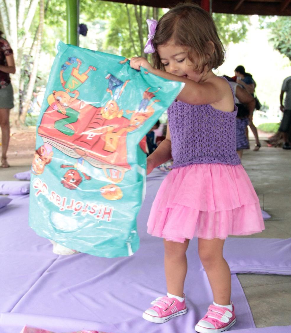 Criança faz festa de aniversário sobre livros (Foto: Arquivo Pessoal/Francisca Del Duca)