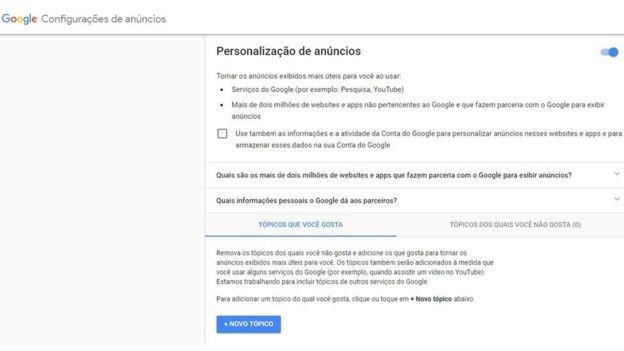 Página de privacidade do Google (Foto: Reprodução/via BBC News Brasil)