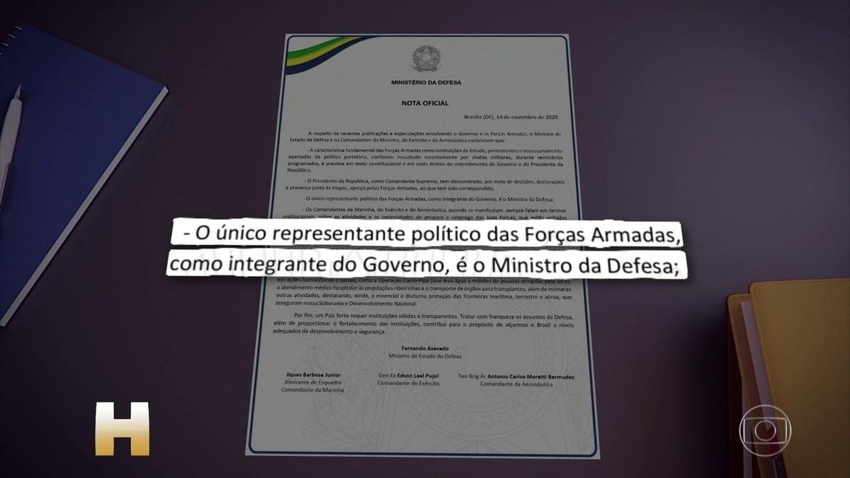 Ministro da Defesa e comandantes militares assinam nota conjunta em que afirmam a separação entre as Forças Armadas e a política   Política   G1