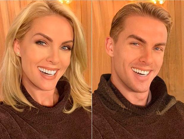 Ana Hickmann ficou parecendo o Ken da Barbie na mudança de gênero do FaceApp (Foto: Reprodução/Instagram)