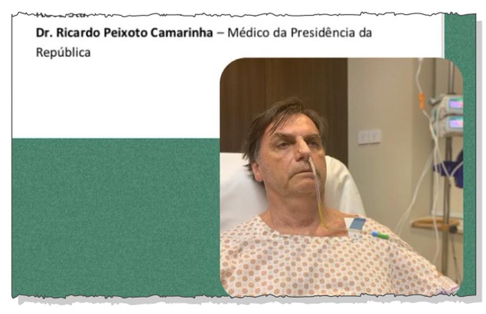 O presidente Jair Bolsonaro publicou uma foto nesta quarta-feira com sonda no nariz  — Foto: Reprodução/Twitter