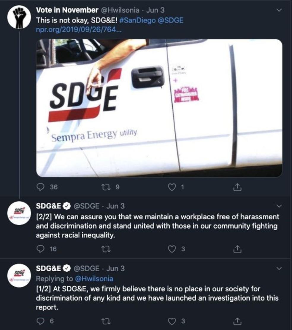 Imagem de Cafferty e seu suposto gesto no veículo da empresa compartilhado por usuário do Twitter que cobra punição da empresa — Foto: Reprodução Twitter/ BBC