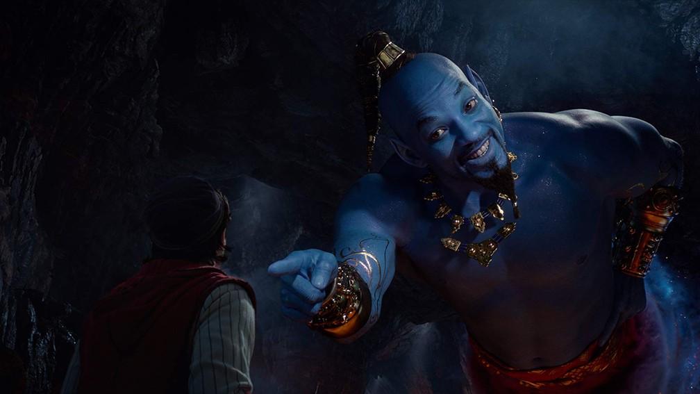 Mena Massoud e Will Smith em cena de 'Aladdin' — Foto: Divulgação