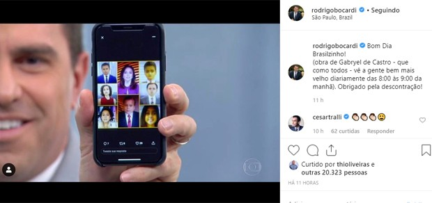 Rodrigo Bocardi mostra jornalistas da Globo com filtro de bebê (Foto: Reprodução)