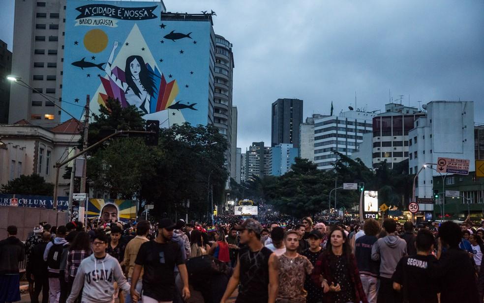 Vista da Rua da Consolação tomada por multidão e por trios elétricos que fazem parte da Parada LGBT de São Paulo, na Zona Central da cidade (Foto: Fábio Tito/ G1)