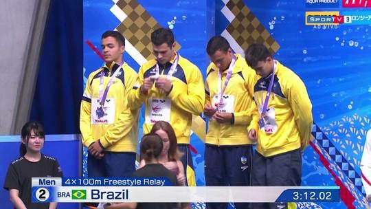 Equipe do Brasil conquista a prata na prova dos 4x100 livre masculino