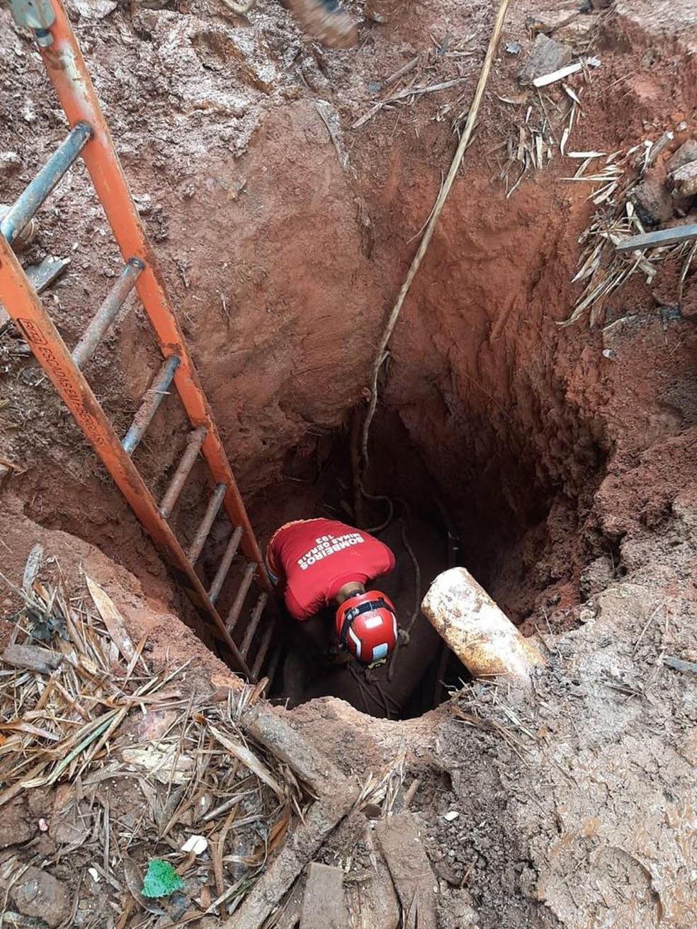 Cisterna onde animais caíram em Patos de Minas tinha 5 metros de profundidade — Foto: Corpo de Bombeiros/Divulgação