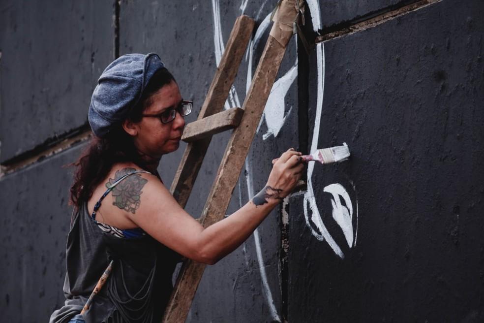 Projeto reuniu quase 40 grafiteiros de vários estados do Brasil — Foto: Pâmella Urie/Arquivo Pessoal