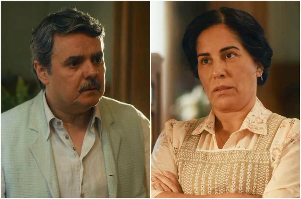 Afonso (Cássio Gabus Mendes) fica em choque com decisão de Lola (Gloria Pires) em 'Éramos Seis' — Foto: Globo