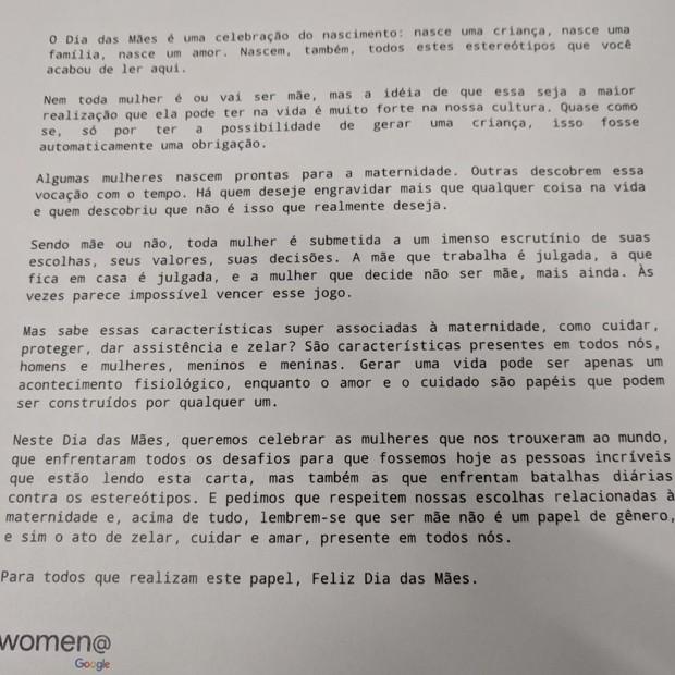 Carta escrita por funcionários que formam comitê do Women@Google para Dia das Mães (Foto: Época NEGÓCIOS)