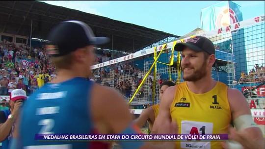 Brasil conquista duas pratas e um bronze na etapa de Viena do Circuito Mundial de Vôlei de Praia